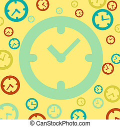 Clock icon on vintage background