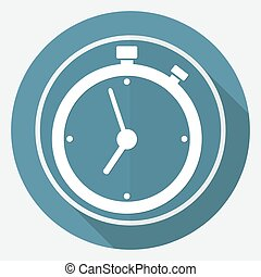 clock icon on white circle with a long shadow