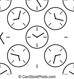 Clock icon pattern on white background. Vector Illustration