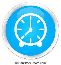 Clock icon premium cyan blue round button