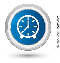 Clock icon prime blue round button