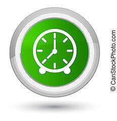 Clock icon prime green round button