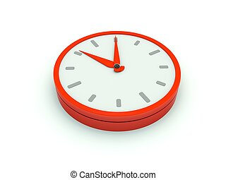 Clock icon. Red series