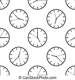 Clock icon seamless pattern on white background. Vector Illustration