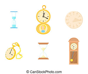 Clock icon set, cartoon style