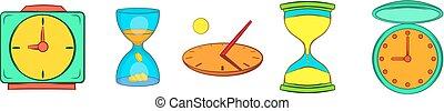 Clock icon set, cartoon style