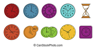 Clock icon set, color outline style
