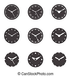Clock Icon Set - Isolated Vector Illustration