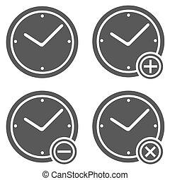 Clock icon set  simple