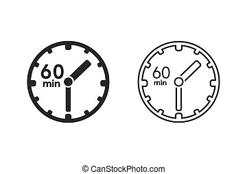 Clock icon. sign 60 min. Vector on white - Clock icon. sign ...