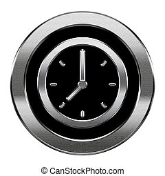 clock icon silver, isolated on white background.
