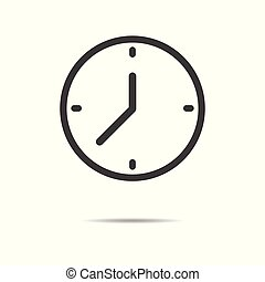Clock icon - simple flat design isolated on white background, vector