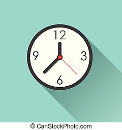 Clock icon - simple flat design with long shadow, vector