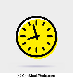 Clock icon. Simple vector sign isolated on gray background