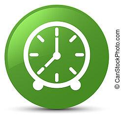 Clock icon soft green round button