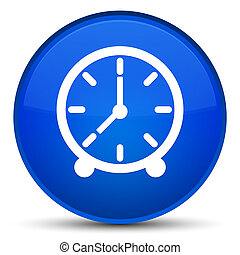 Clock icon special blue round button