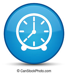 Clock icon special cyan blue round button