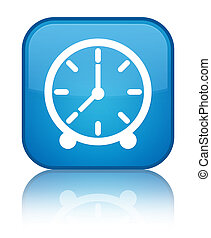 Clock icon special cyan blue square button