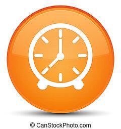 Clock icon special orange round button