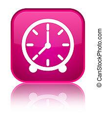 Clock icon special pink square button