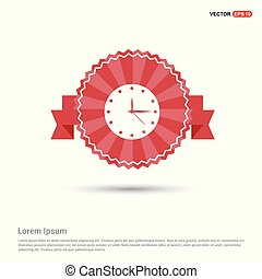 Clock Icon. Time icon - Red Ribbon banner