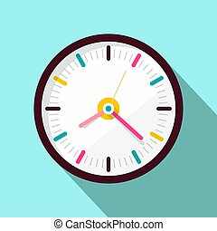 Clock Icon. Vector Flat Design Illustration on Blue Background.
