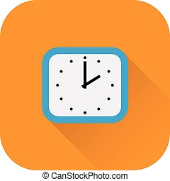 Clock icon. Vector. Flat design with long shadow.