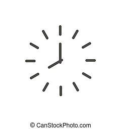 Clock icon vector. Line time symbol.