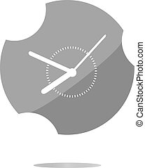 Clock icon web button sign . Flat sign isolated on white background
