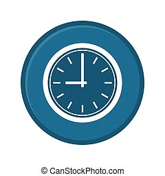 Clock icon. Web sign flat Blue design, button app. Vector illustration