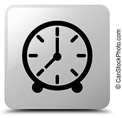 Clock icon white square button