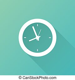 clock icon with long shadow, on blue background. Vector Illustration. Alarm clock in flat design