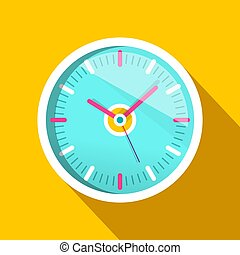 Clock Icon with Long Shadow on Yellow Background