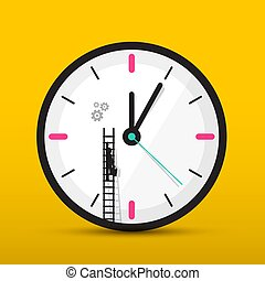 Clock Icon with Man on Ladder. Vector Time. Maintenance and Service Symbol.