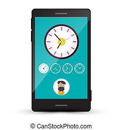 Clock Icons and Man Avatar on Cellphone Screen. Vector Mobile Time Zone Phone App.