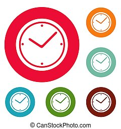 Clock icons circle set
