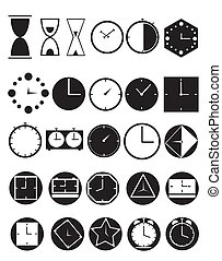 Clock icons on a white background.