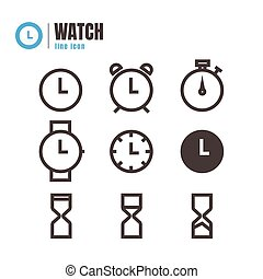 Clock icons set. vector. on white background. logo. symbol