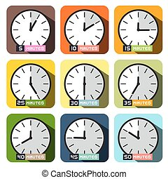Clock Icons Vector. Different Time Clock Face Set.