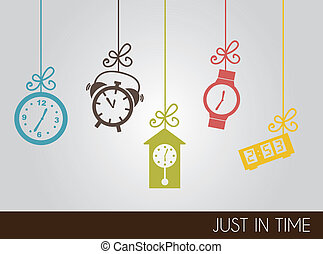 Clock icons - VIntage clock icons over gray background...