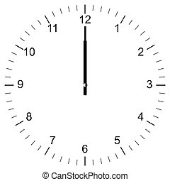 Illustration of a Clock showing 12:00 isolated on white background