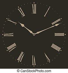 Clock illustration on black background.