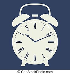 Clock illustration on dark blue background.