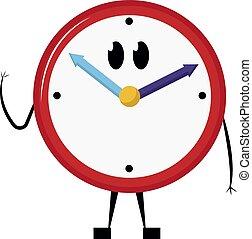 Clock, illustration, vector on white background.