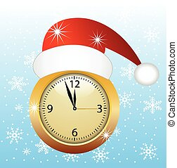 clock in a christmas red cap, vector illustration
