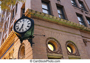 Clock in downtown of Norfolk - before sunrise