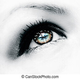 clock in eye
