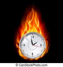 Clock in fire - Clock in Fire. Illustration on black...