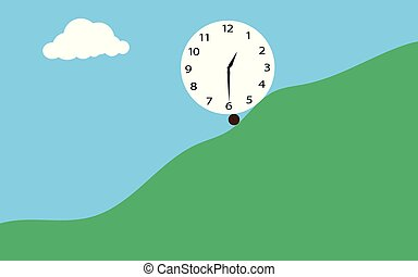 Clock in flat style on mountain background. Vector illustrator design.
