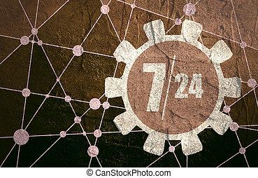 clock in gear and symbols 7, 24